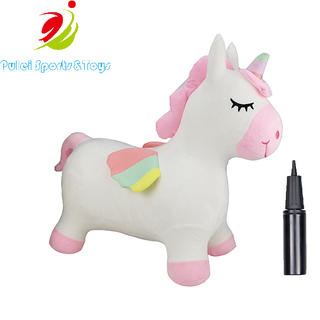 Unicorn Bouncy Horse Plush Outdoors Inflatable Hopper Plush Covered with Pump